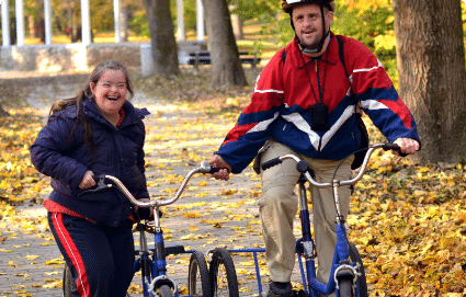 Bike Riding in a park